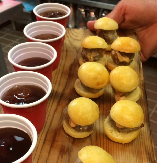 Cheeseburgers with Soda Shooters - Butlered Hors d'oeuvres