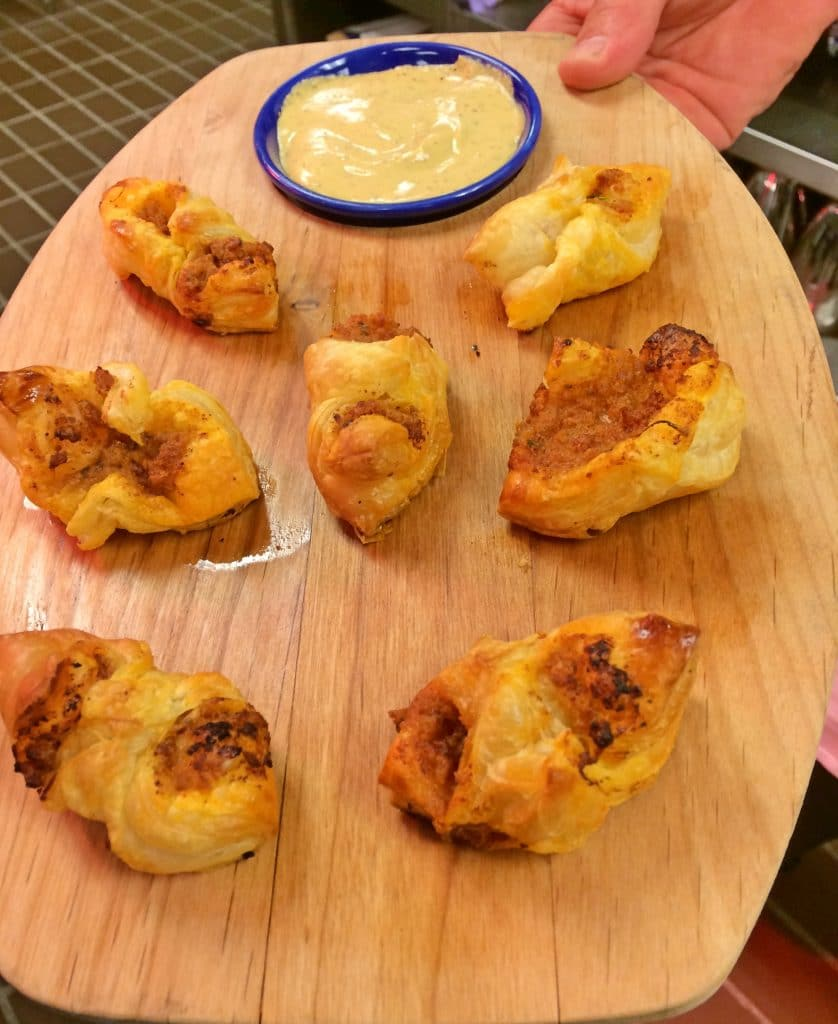 Chorizo Sausage in Puff Pastry 838x1024 - Butlered Hors d'oeuvres