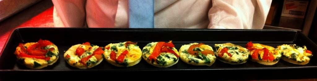 Goat Cheese   Spinach Pizzas - Butlered Hors d'oeuvres