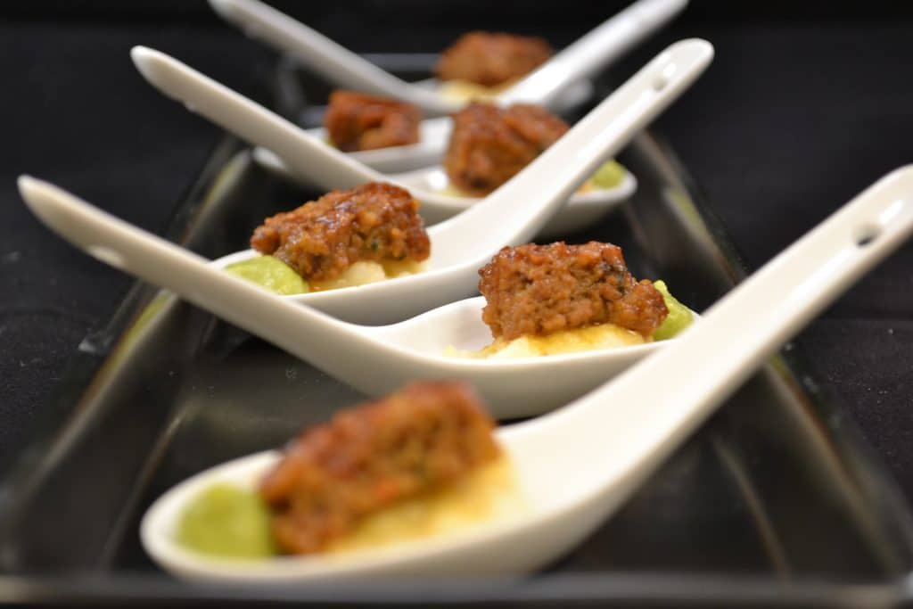 Meatloaf Mashed Potatoes and Pea Puree 1024x683 - Butlered Hors d'oeuvres